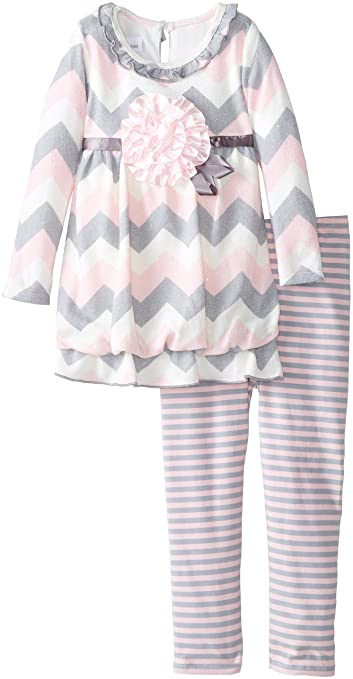 Bonnie Jean Little Girls' Brushed Knit Chevron Bubble Legging Set, Pink, 2T