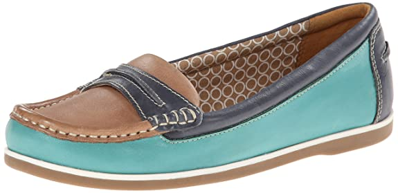Naturalizer Women's Hamilton Boat Shoe, Turquoise/Denim, 8.5 M US