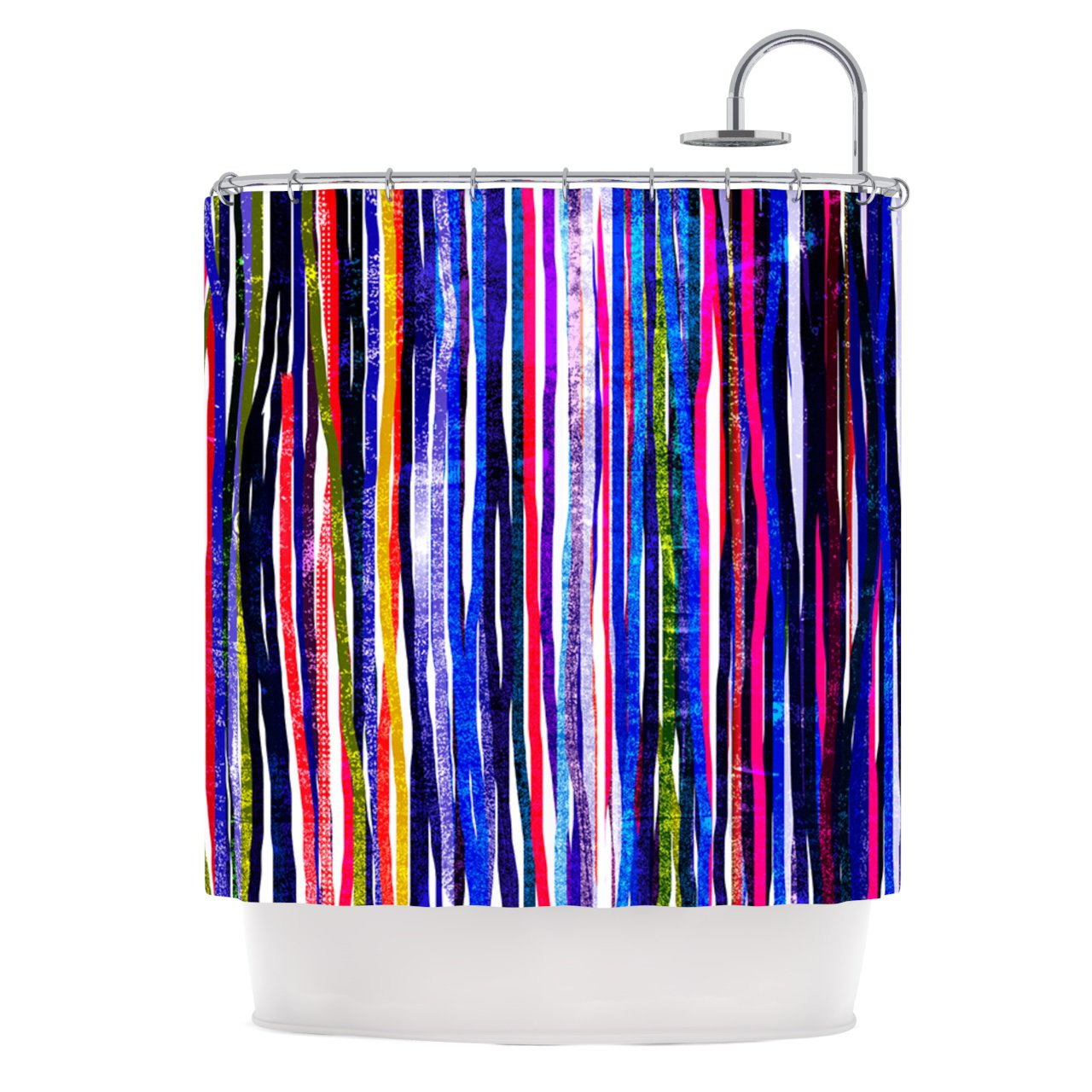 "Frederic Levy-Hadida ""Fancy Stripes Purple"" Shower Curtain, 69 by 70-Inch"