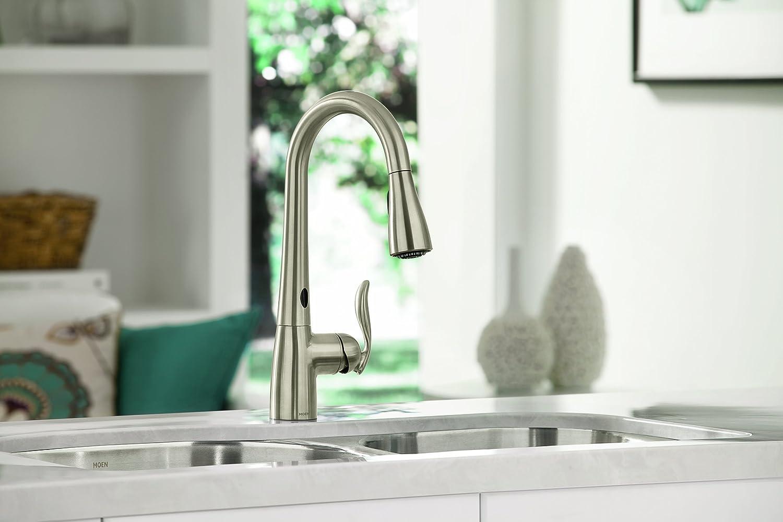 moen touchless kitchen faucet lantern lighting 7594esrs arbor high goose-neck with ...