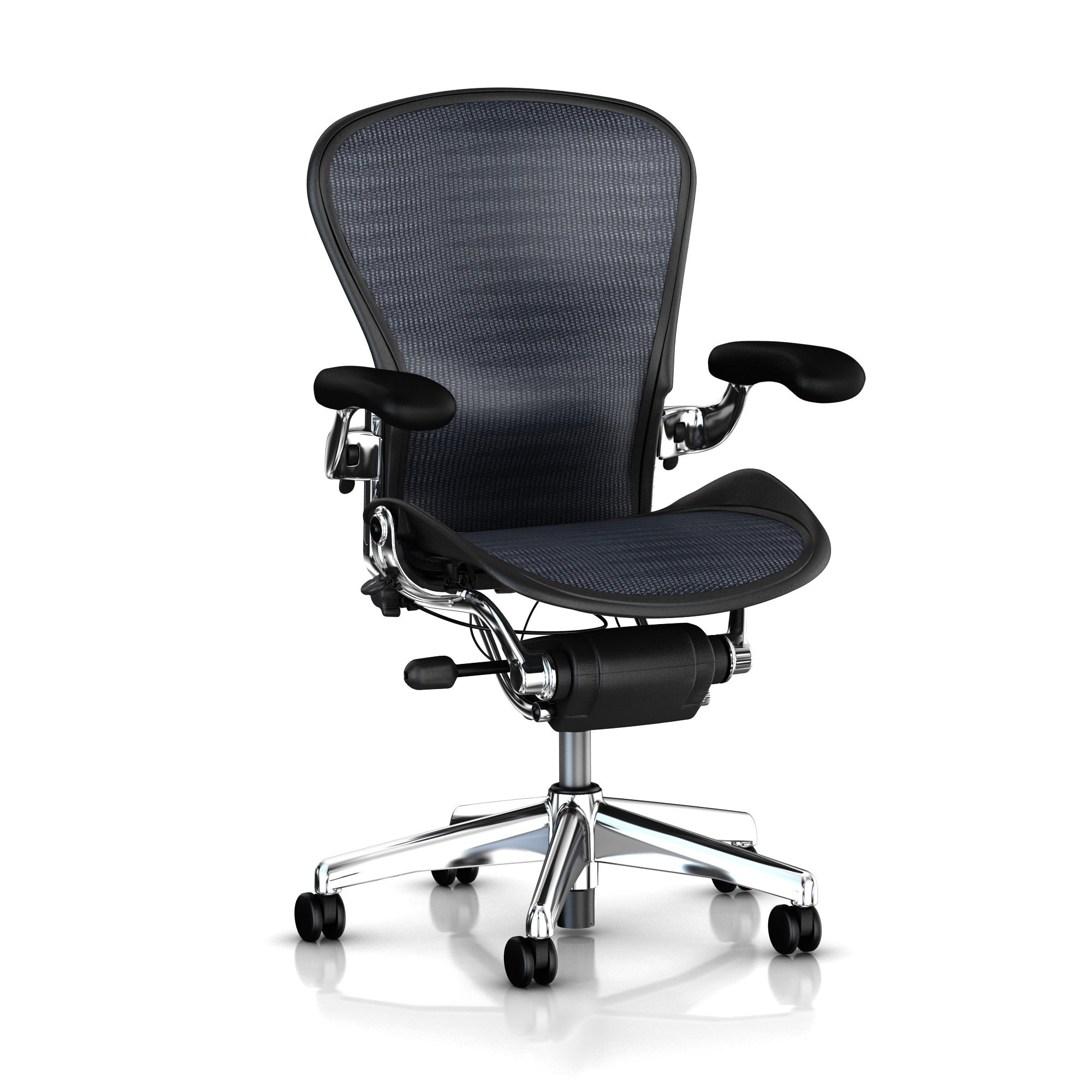 posturefit chair panda bean bag executive aeron by herman miller polished aluminum frame leather arms lumbar blue black