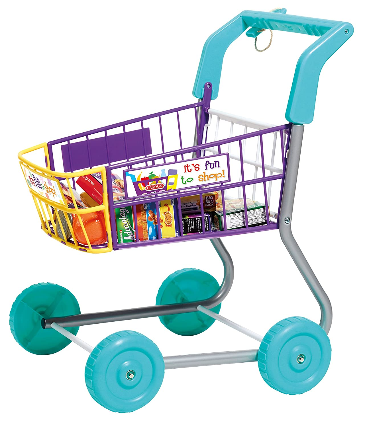 Toy Grocery Shopping Cart Trolley Includes Play Food