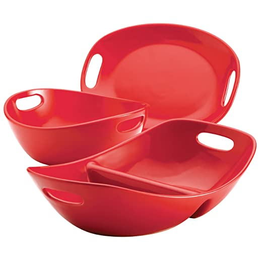 Rachael Ray Stoneware 3-Piece Serveware Set, Red