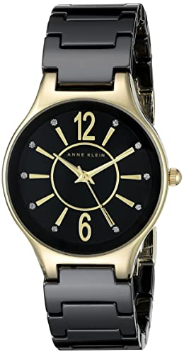 Anne Klein Women's AK/2182BKGB Glitter Accented Gold-Tone and Black Ceramic Bracelet Watch