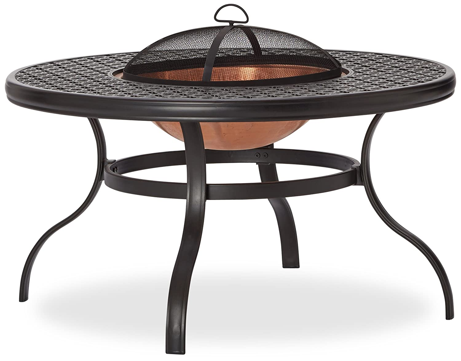 Cast Aluminum Fire Pit with Round Table and Detachable Lid