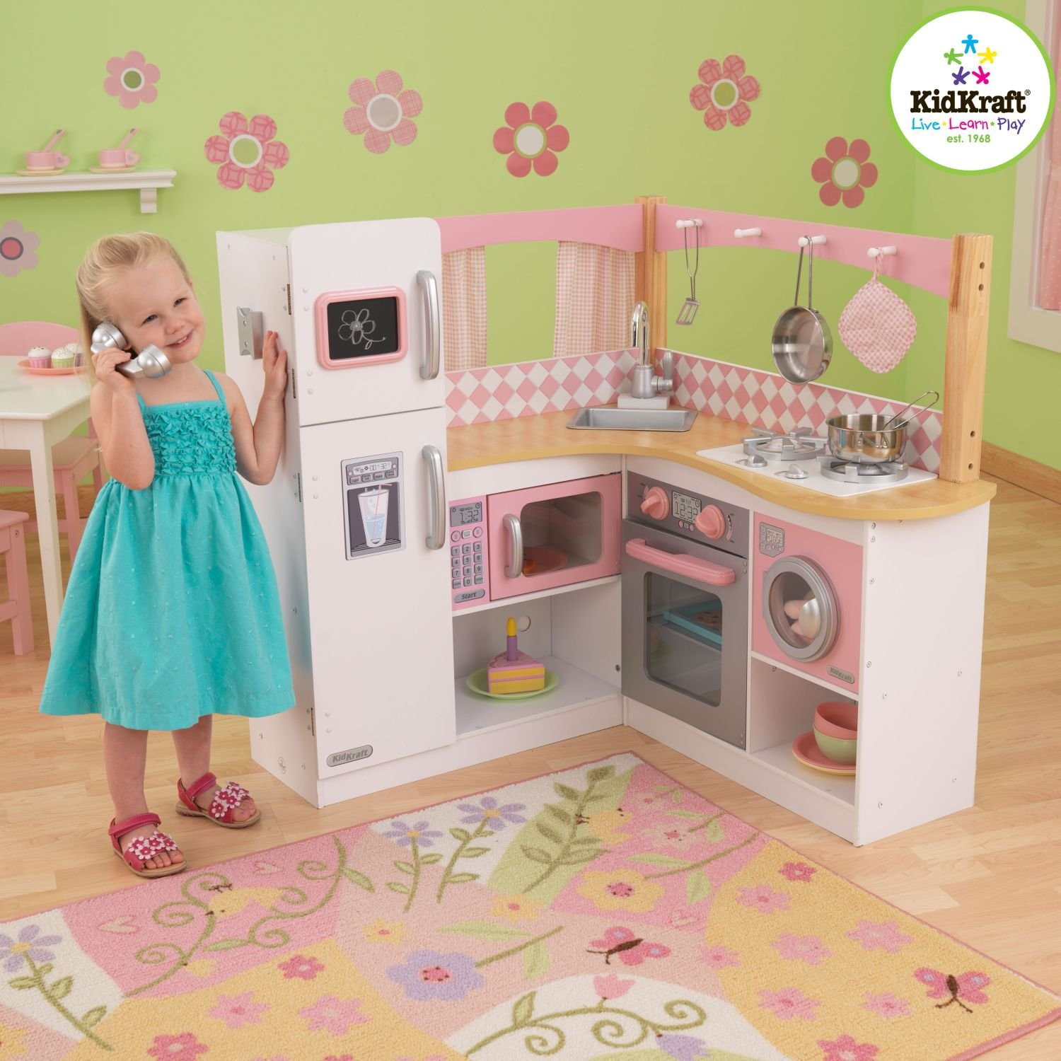 kidkraft grand gourmet corner kitchen play set glass inserts for cabinets kids playsets classy baby gear