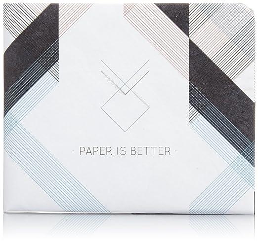 """Paper Wallet Men's Unique The Architect Tyvek Wallet By Hadrien Degay Delpeuch 8"""" X 3"""" / 20 X 8 Cm (Open) White, Black, Light Blue"""