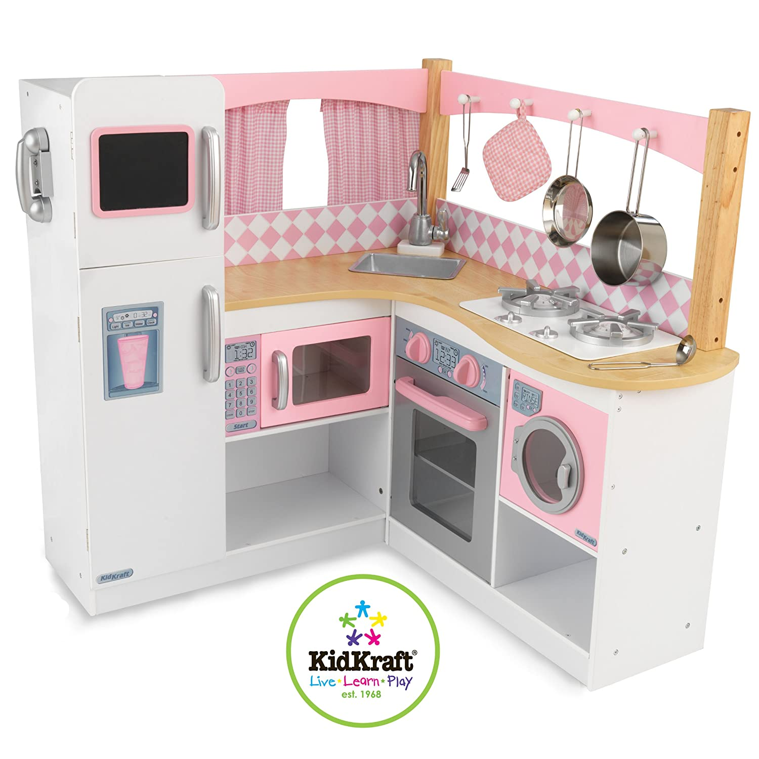 wooden play kitchen sets appliance storage playset kids playsets wood