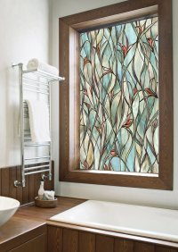 Stained Glass Panels Non Adhesive Frosted Privacy Flowers