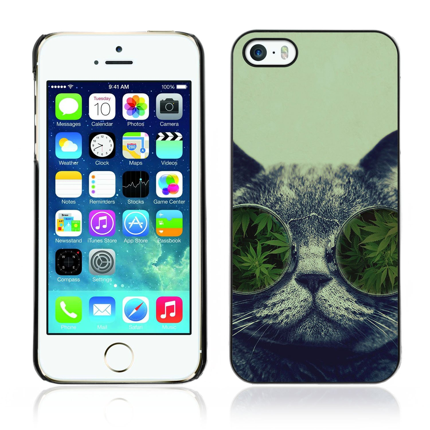 DesignHeaven Slim Design Case Apple iPhone 5 / 5S ( Cool Funny Hipster Cat Weed Marijuana Glasses )