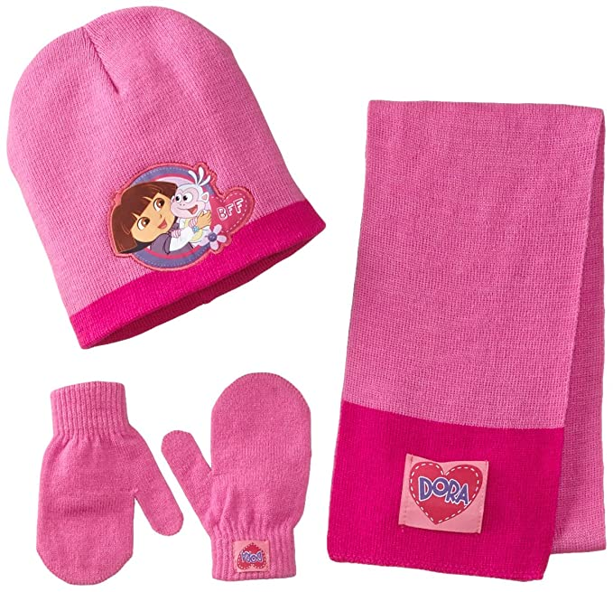 Berkshire Little Girls' 3 Piece Dora The Explorer Boots Hat Mitten and Scarf Set, Multi, One Size