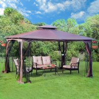 Outdoor Garden Gazebo Pergola Patio Furniture Metal Frame ...