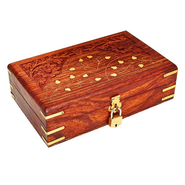 Handmade Wooden Jewelry Box With Free Lock & Key Keepsake