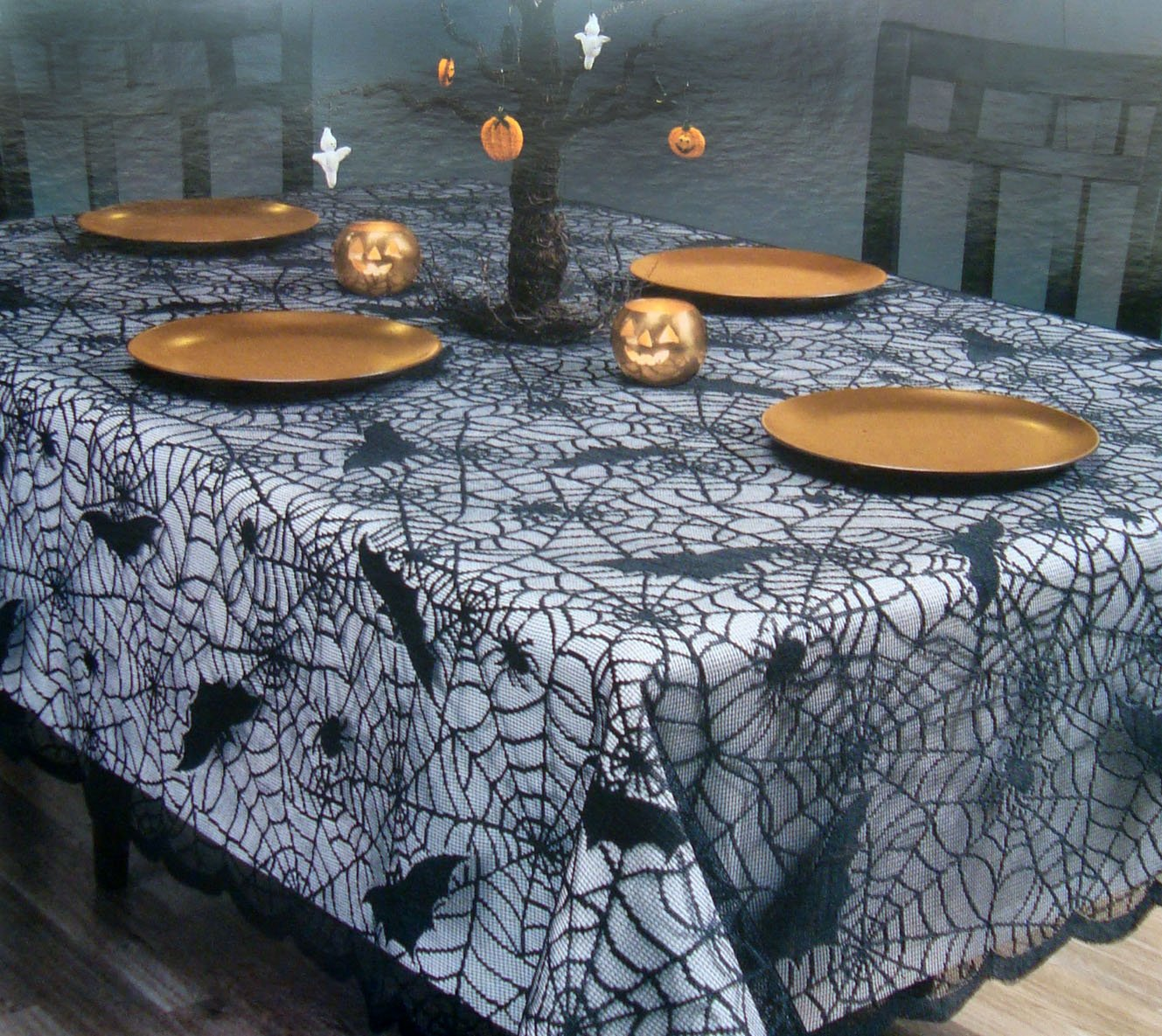 Halloween black web lace tablecover tablecloth scalloped border (52x70 Oblong)
