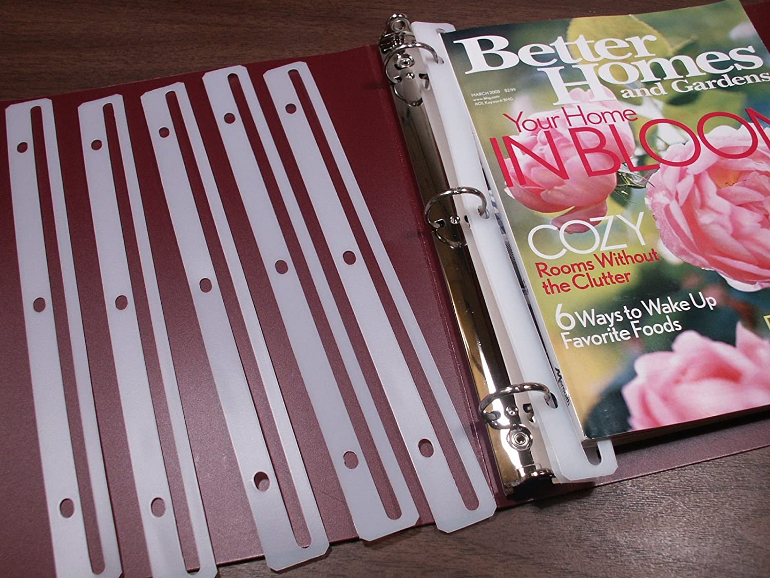 easy magazine storage in a (recycled) 3-ring binder