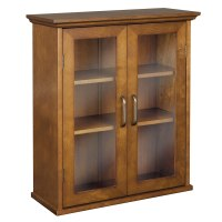 Wooden Wall Cabinet Glass Doors Hanging Adjustable Shelves