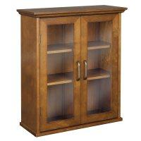 Wooden Wall Cabinet Glass Doors Hanging Adjustable Shelves ...
