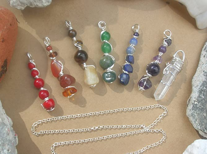 7 Chakras Wire Wrapped Pendants with Sterling Silver Necklace / 7 Pendants + Necklace / 8 piece Wire Wrapped Pendant Chakra Set