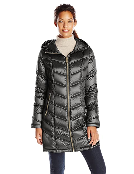 Calvin Klein Women's Mid Length Packable Chevron Down Coat, Black, Small