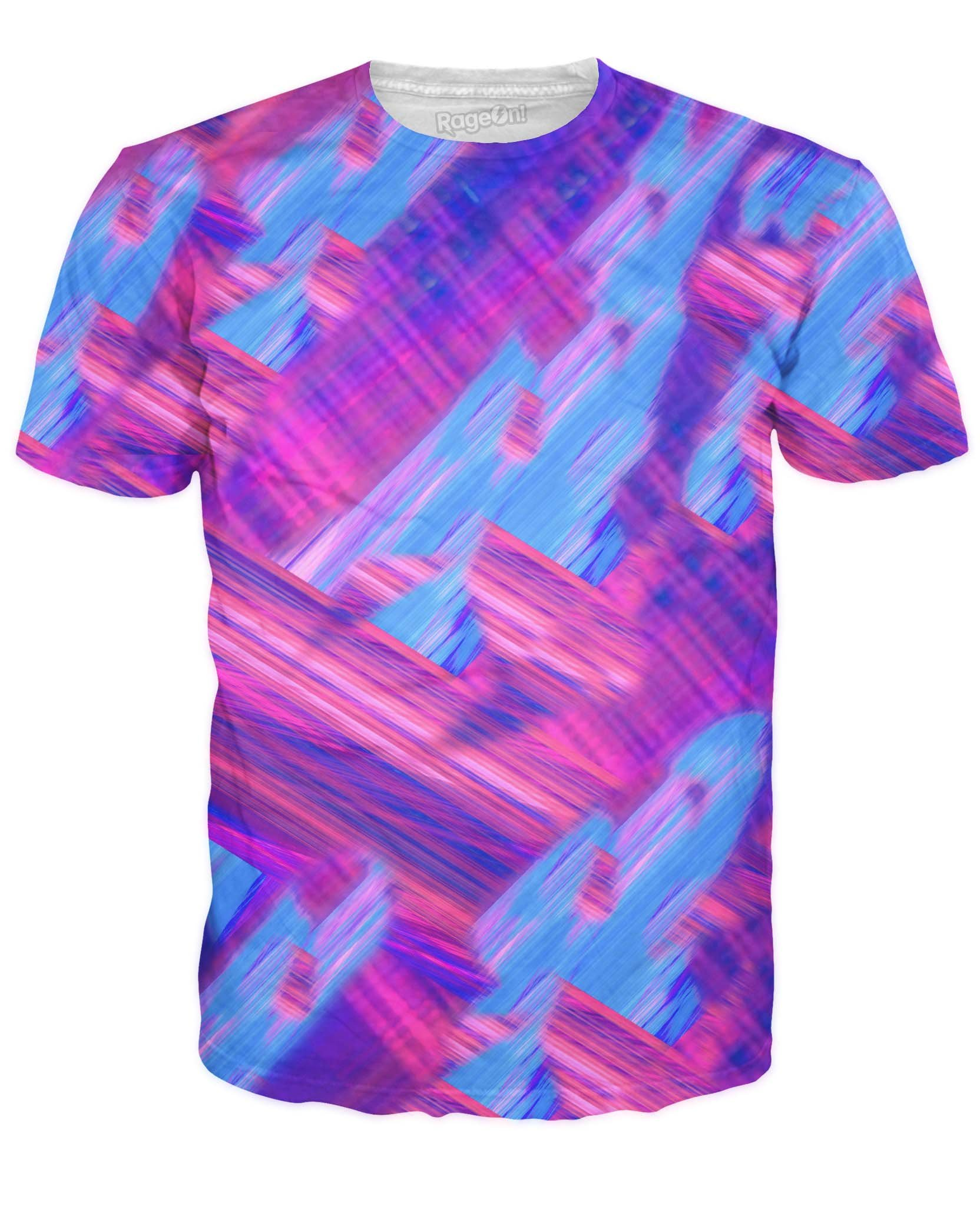RageOn Men's Glaciers T-Shirt Neon Pink Purple Blue