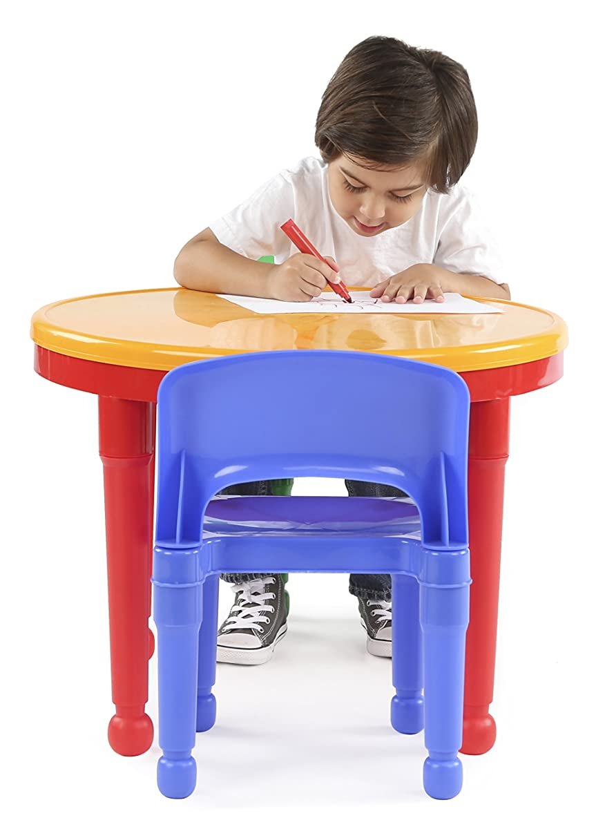 toddler table and chair set computer reviews tot tutors kids 2-in-1 plastic lego-compatible activity 2 chairs set, primary colors