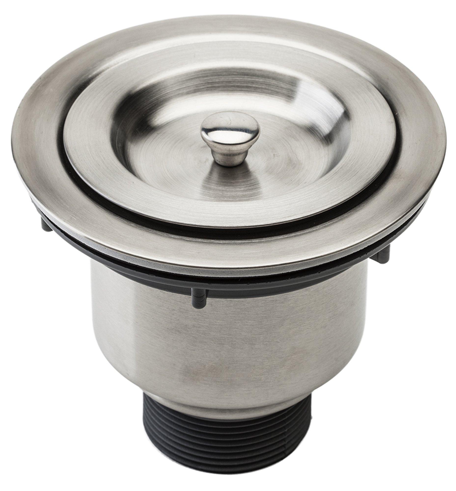 kitchen sink basket strainer island with granite top fluxe 3 5 inch stainless steel deep waste