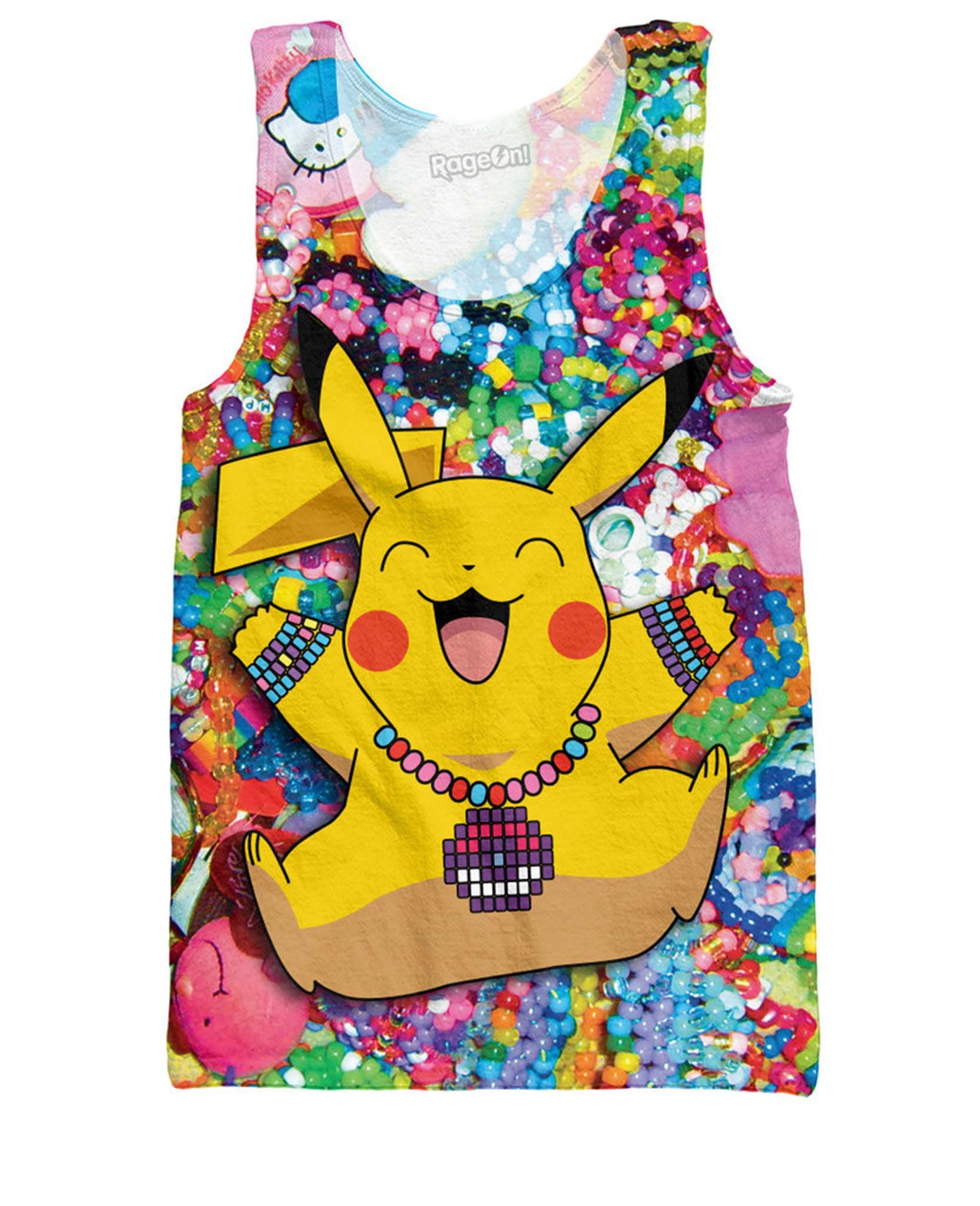 RageOn Men's Pikachu In Kandiland Tank Top Funny Candy Raver shirt