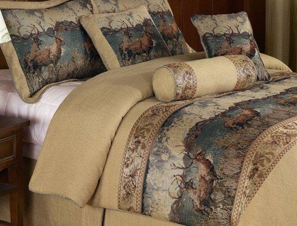 Deerfield 7piece Tan Deer Cabin Lodge Tapestry Comforter