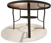48in Round Dining Table Outdoor Umbrella Hole Aluminum ...
