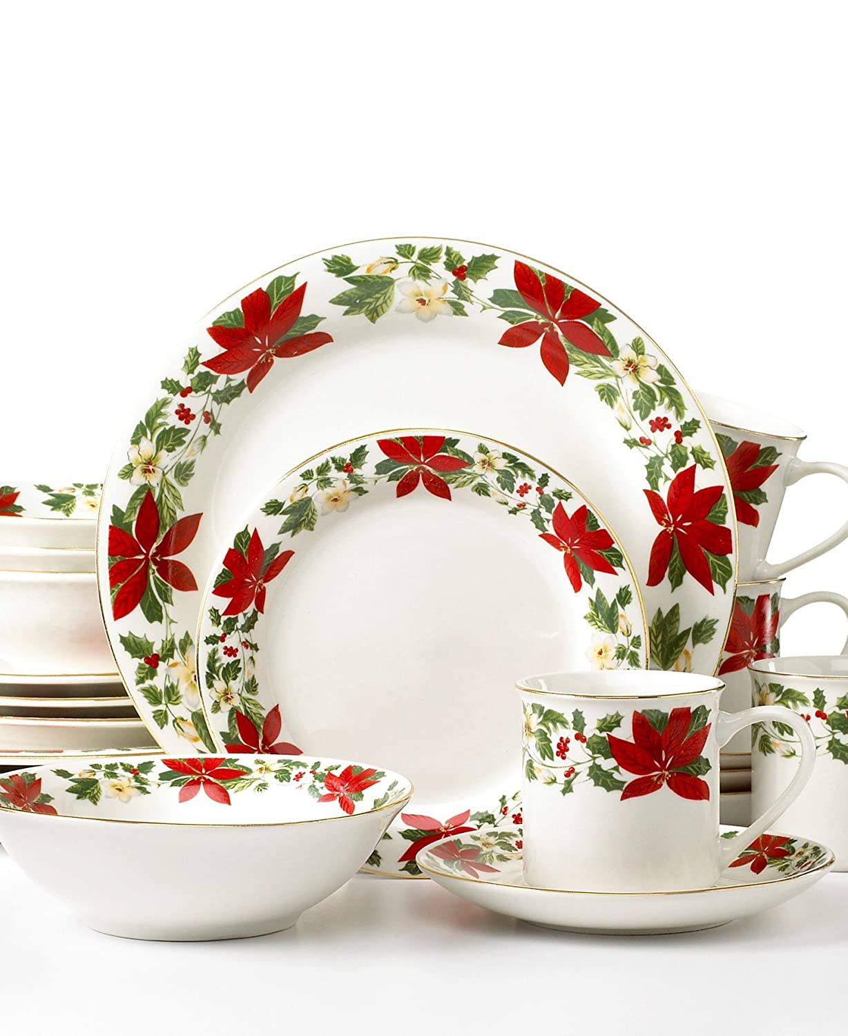 Gibson Dinnerware, Poinsettia Holiday 20 Piece Set