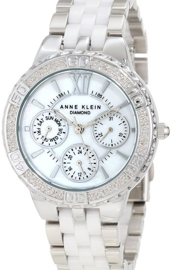 Anne Klein Women's 10/9731MPWT Diamond Accented Silver-Tone Multi-Function Watch