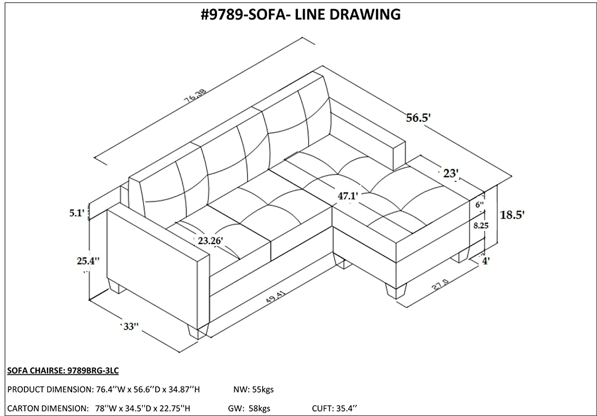 Homelegance Phelps Contemporary Tufted Sectional Sofa With