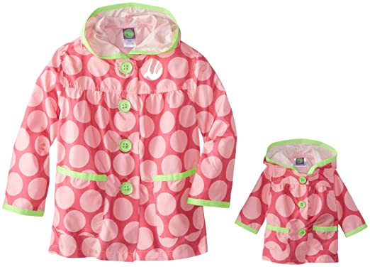 Dollie & Me Little Girls' Polka Dot Ripstop Windbreaker, Pink, 4