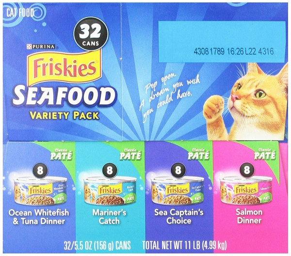 Friskies Cat Food Classic Pate 4Flavor Seafood Variety