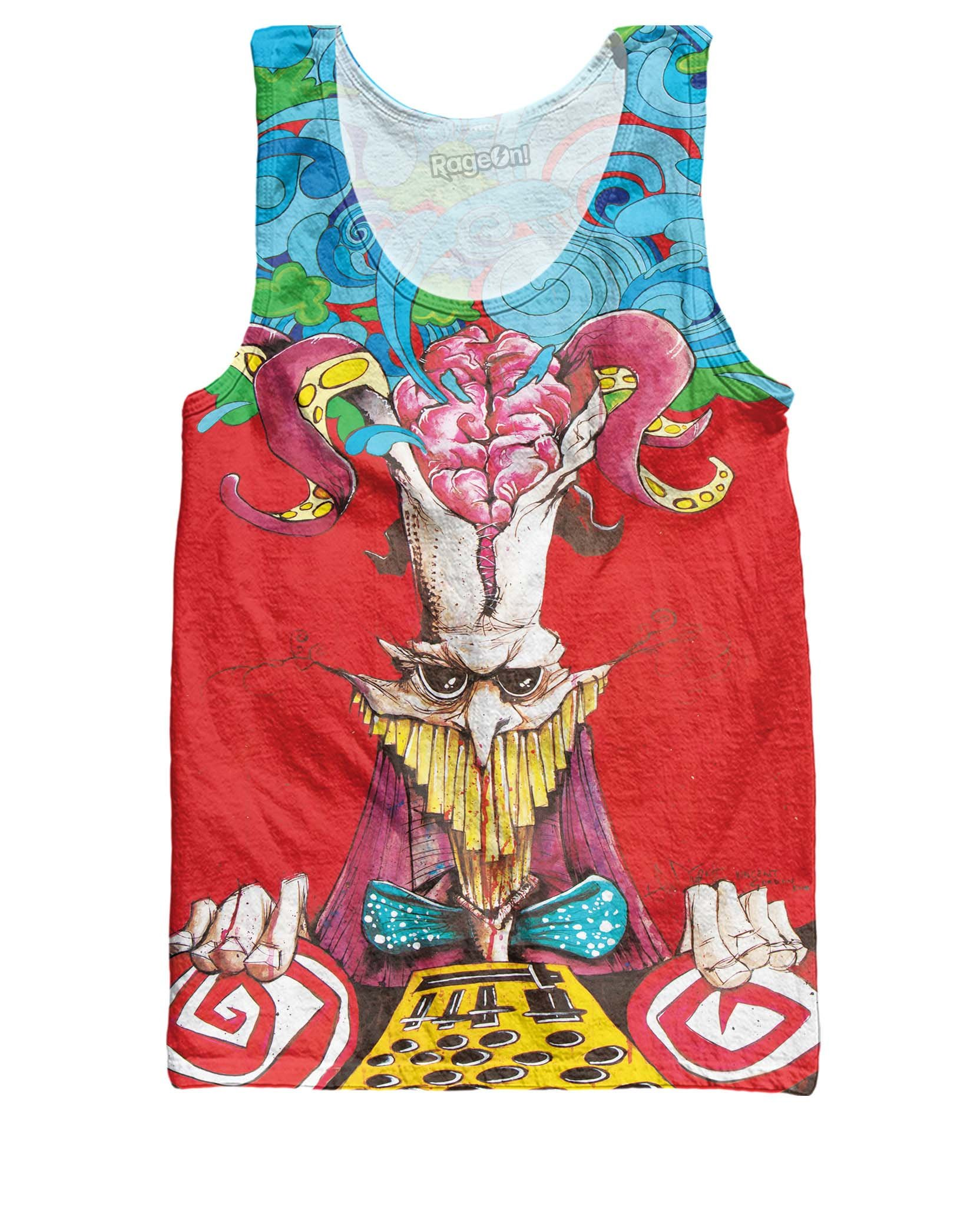 Corpus Collosum Tank Top Red Print