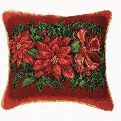 Merry Christmas Chair Covers Diy Mat Poinsettia Throw Pillows Wikii
