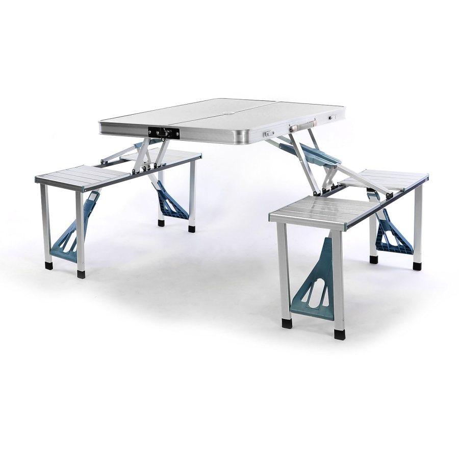 Camping sitzgruppe aluminium klappbar tisch mit 4 hocker for Tisch koffer design