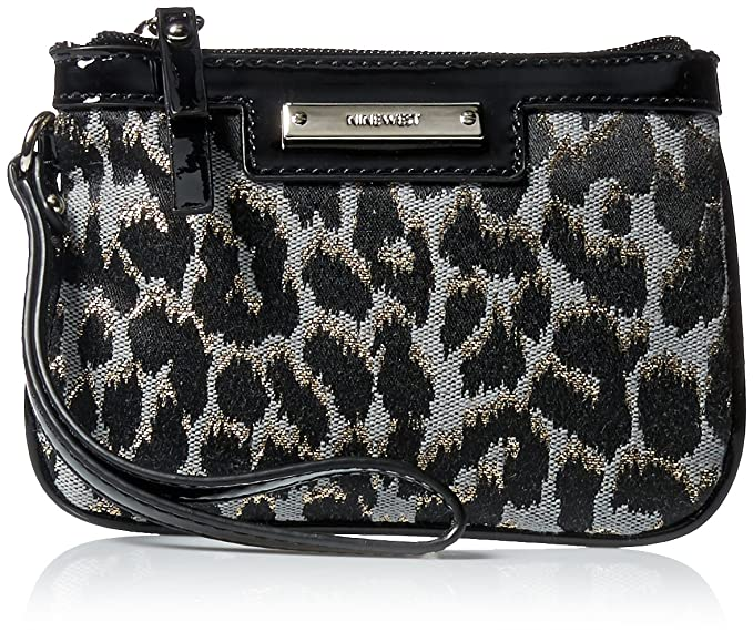 Nine West Glitter Mob Small Wristlet, Black/Grey, One Size
