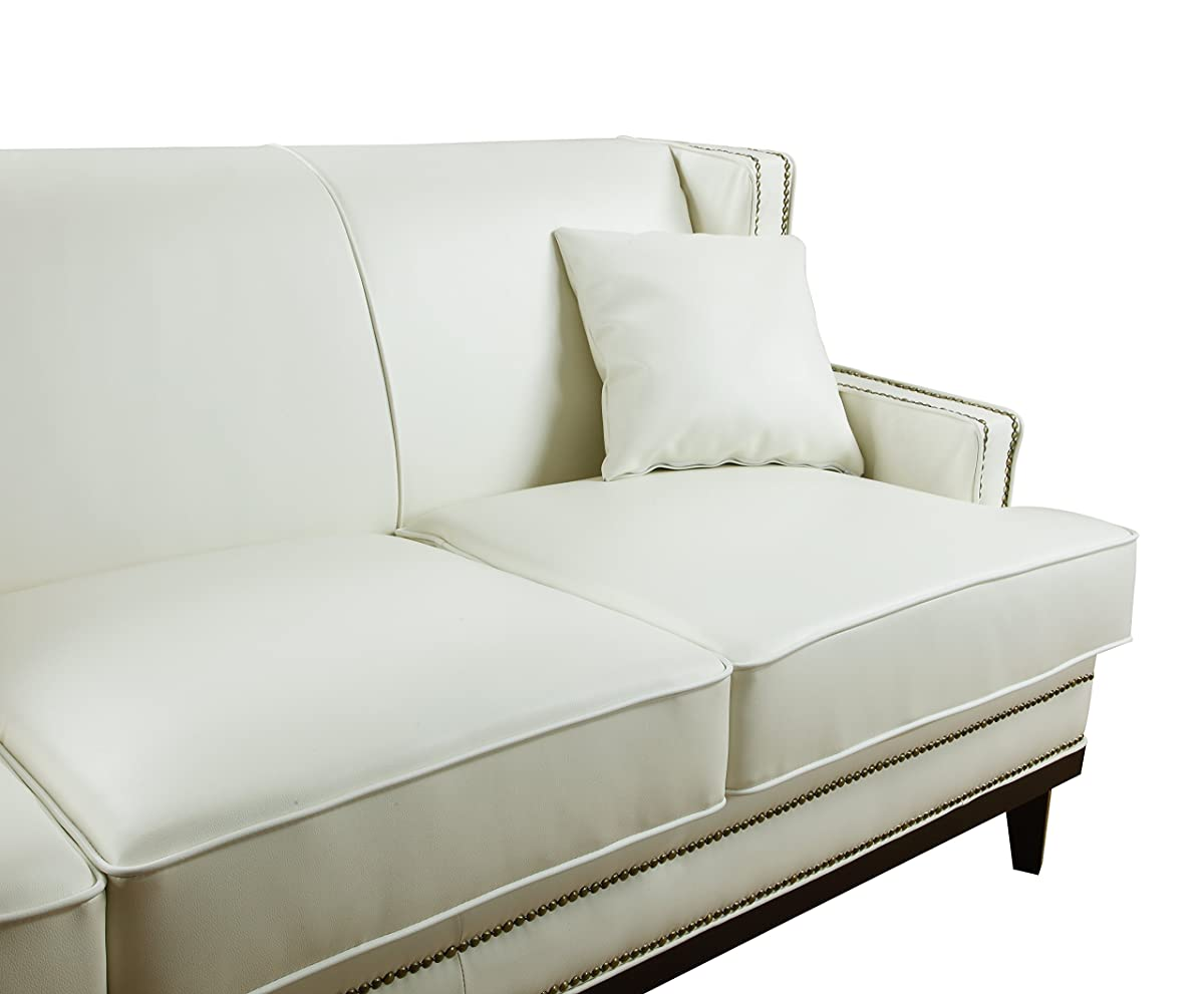 white leather sofa with nailheads feet pads modern bonded nailhead trim detail
