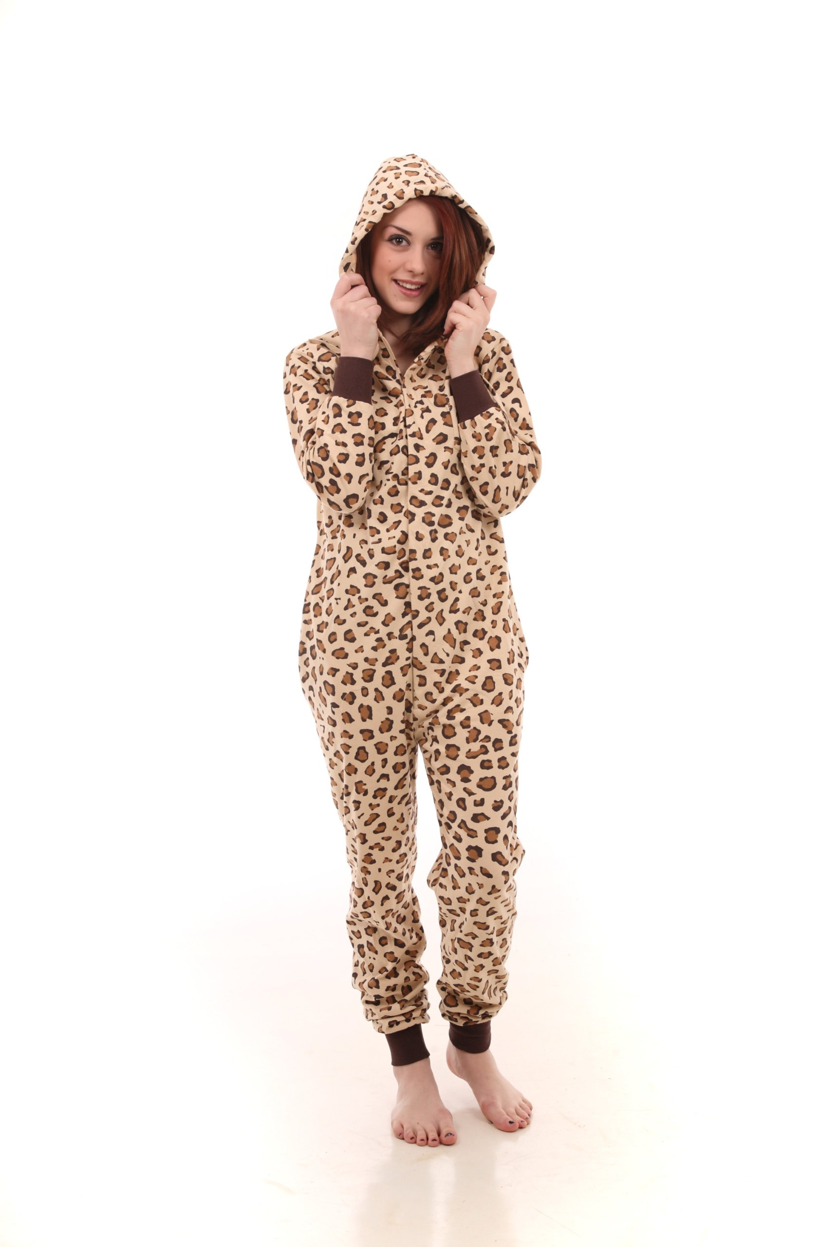 Leopard Spot Non Footed One Piece Pajama Jumpsuit, XS-XL