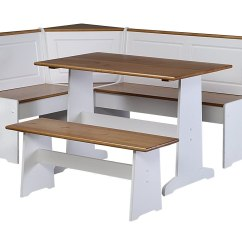 White Bench For Kitchen Table Amish Made Cabinets With