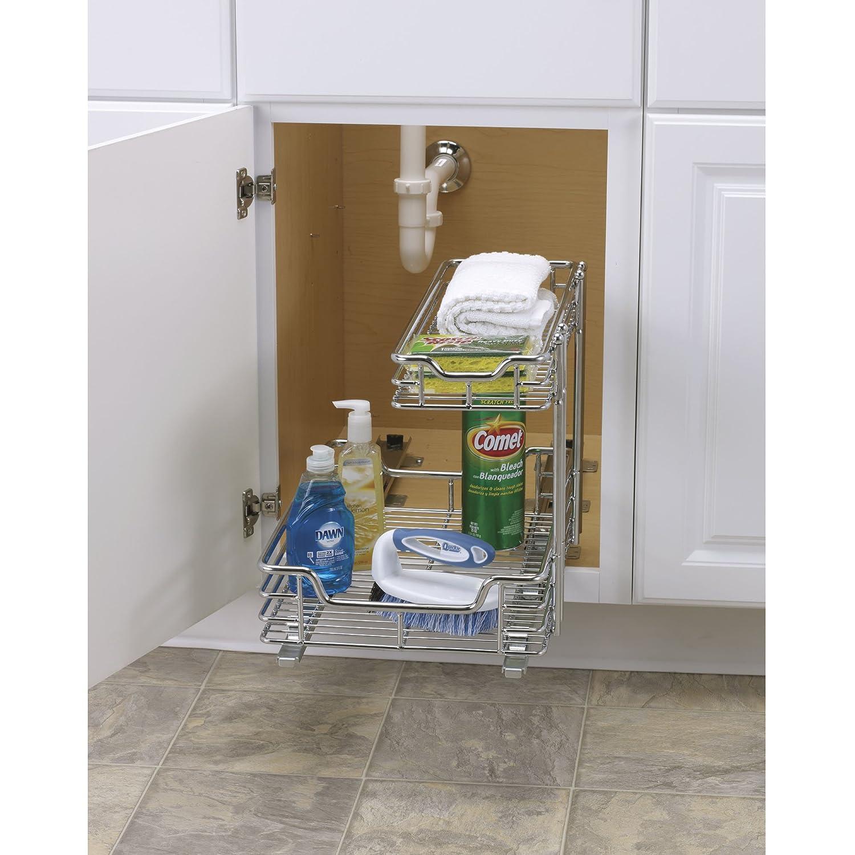 under kitchen sink storage rustic country decor organizer shelf cabinet sliding