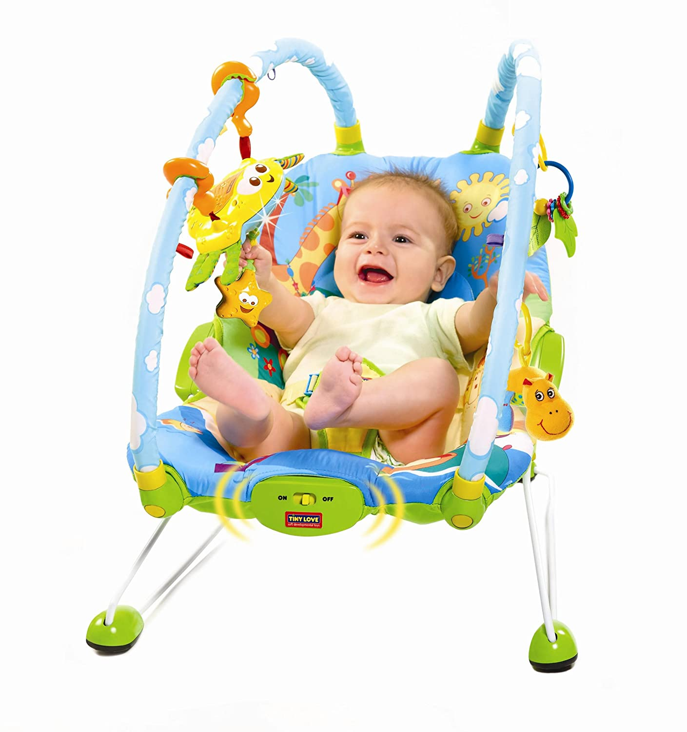 tiny love bouncer chair infant beach gymini blue yellow new free shipping