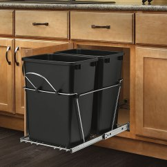 Door Mounted Kitchen Garbage Can With Lid Bridge Faucets Pull Out Trash Waste Container Cabinet