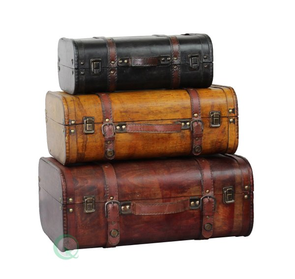Vintiquewise Tm 3-colored Vintage Style Luggage Suitcase