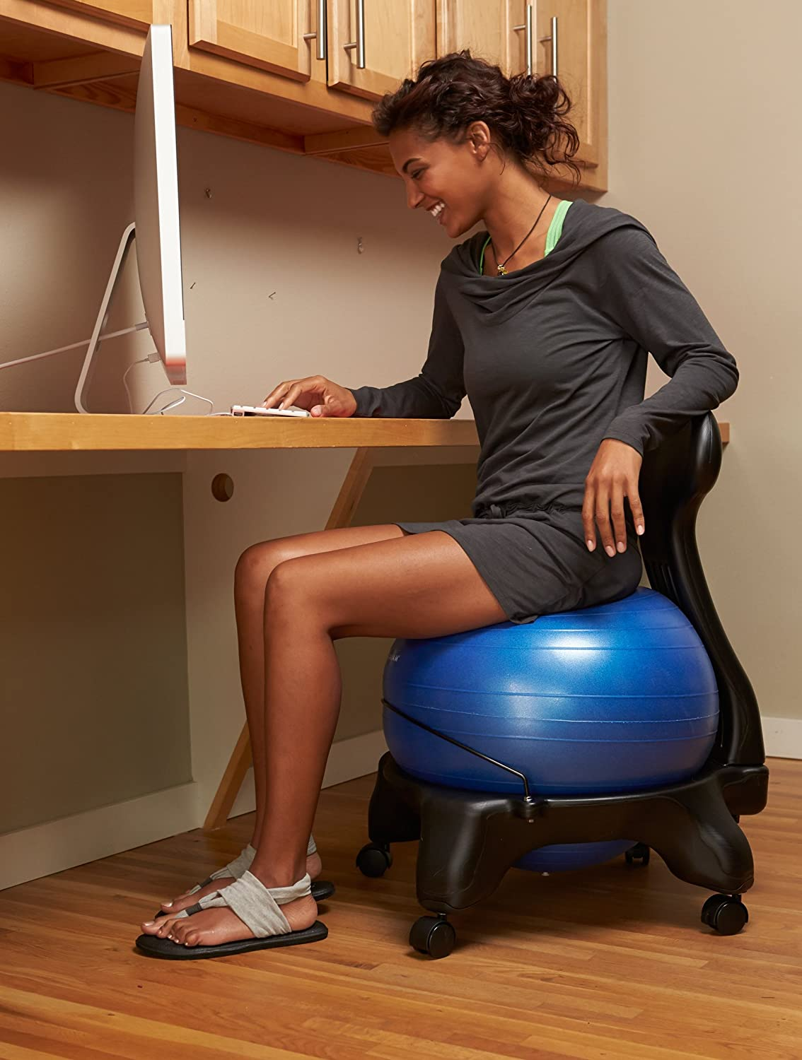 Gaiam Yoga Ball Chair Gaiam Balance Ball Chair Blue Exercise Balls Evrybase