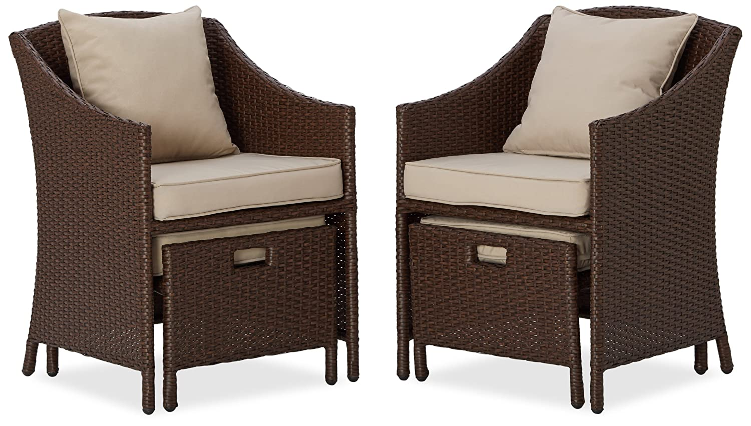 outdoor chairs with ottomans louis 15th 5pc patio set table rattan weather