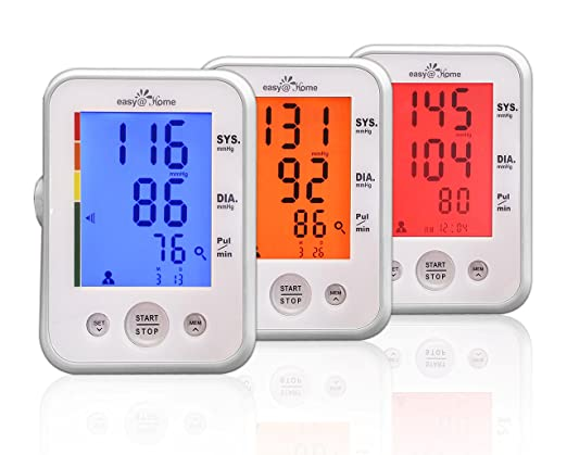 Easy@Home Digital Upper Arm Blood Pressure Monitor (BP Monitor) with 3-Color Hypertension Alert Backlit display and Pulse Meter-FDA approved For OTC use, IHB Indicator, 2 User Mode, 2 Year Warranty