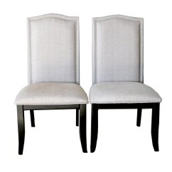 Upholstered Chair With Nailhead Trim Rocker For Toddlers Set Of 2 Beige Fabric Dining Chairs
