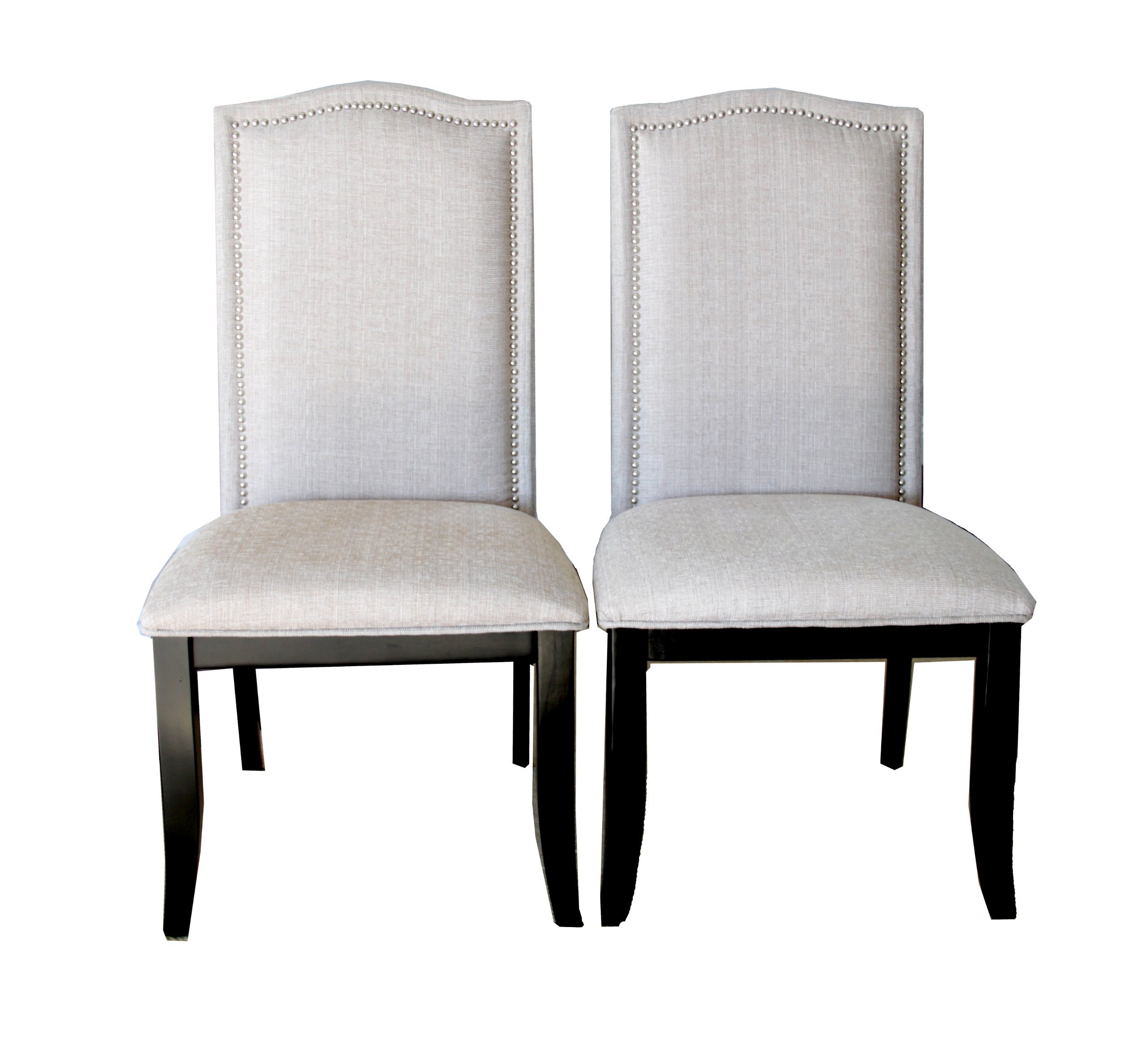 nailhead dining room chairs distressed leather set of 2 upholstered beige fabric with